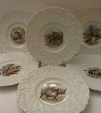 "Lot 6 Vintage Royal Cauldon Ironstone Luncheon Plates, ""Safari"" Wild Animals"