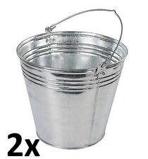 2x 14L/3 Gallons résistant acier galvanisé métal SEAU EAU , jardin, charbon