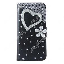 Silver Diamonds Phone Case Rhinestone Flip Wallet Cards Cover Skin for ZTE