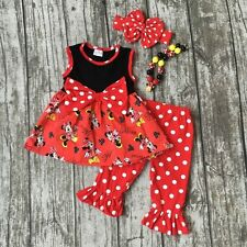 NWT MICKEY MOUSE Girl's 5 Red Ruffled Dress TOP & Pant With BOW & Necklace 5