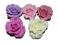 6 PIECE LARGE PASTEL HAIR ROSE ON FORKED CLIP PINK CREAM LILAC WEDDING 50s PIN