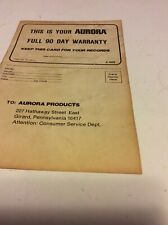 Rare Vintage Slot car Aurora Warranty.