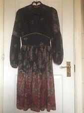 Mango Blue/brown Paisley Print dress Uk Size Small