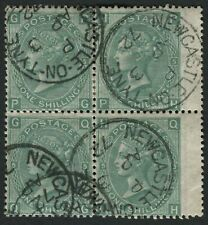 SG117 1867-80 1s Green plate 5 PG/QH block of 4, cancelled NEWCASTLE ON TYNE cds