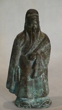 ANTIQUE 19C CHINESE BRONZE TEMPLE  STATUE OF IMMORTAL FU GOD HOLDING SCROLL