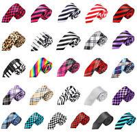 "Fashion New Casual Mens Necktie Tie Skinny Narrow Slim 2"" Plaid Stripe Patterns"
