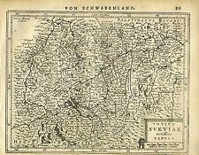 1651 Genuine Antique map Sw Germany, Rhine, Danube, Sueviae. Mercator/Jansson