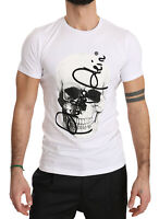 PHILIPP PLEIN Homme White Cotton T-shirt Limited Edition Skull Black Cut s. M