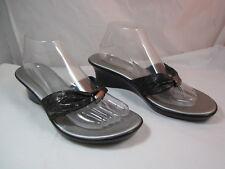 "Womens Italian Shoemakers Black Flip Flops Sandals Shoes 2 1/4"" Heels Size 10M"