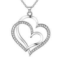 Silver Plated CZ Double Heart Hanging Pendant Necklace with Cubic Zirconias S3