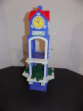 Fisher Price Geo Trax Clock Tower Chimes Spins Train Town Toy Red  blue Grey