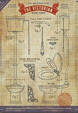 Workings of The Victorian High Tank Toilet small steel sign 200mm x 150mm (og)