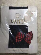 Italmoda Vintage Bow Tie Opaque Black Nylon Pantyhose Red Plaid Size S
