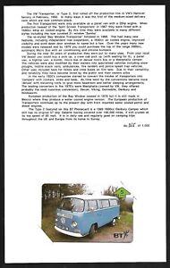 BTG657 VOLKESWAGON VW TRANSPORTER MINT BT PHONECARD IN ISSUE FOLDER