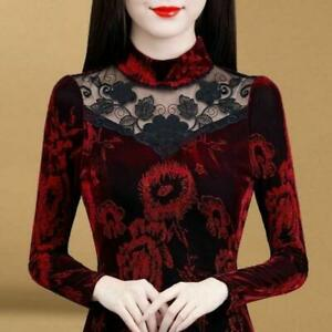 Womens Fleece Lined Shirt Floral Lace High Neck Long Sleeves Blouse Warm Tops