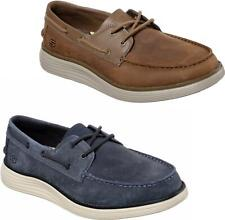 Skechers STATUS 2.0 FORMER Mens Casual Leather Lace Up Moccasin Boat Deck Shoes