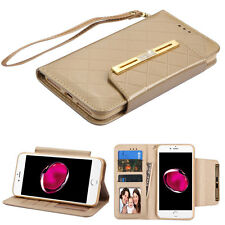 iPhone 7 Plus Gold Checkered Wallet w/ Strap Phone Stand Card Holder Magnetic