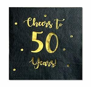 Cheers to 50 Years Cocktail Napkins   Happy 50th Birthday Decorations Men and...