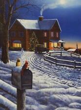 "Jim Hansel ""Evening with Friends"" Cardinal Christmas Tree Print  12"" x 16"""