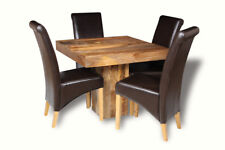 DINING ROOM FURNITURE DAKOTA 90CM TABLE WITH 4 LEATHER CHAIRS (2 STYLES) (48L)