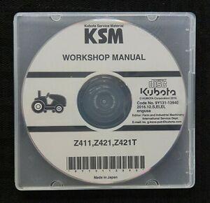 GENUINE KUBOTA Z411 Z421 Z421T ZERO-TURN MOWER SERVICE REPAIR MANUAL ON CD NICE
