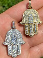 Real 925 Sterling Silver Hip Hop Hamsa Hand Pendant Iced Diamond Necklace Gold