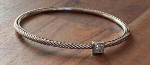 David Yurman Sterling Silver Pave Diamond Confetti Cable  Bangle 3mm Bracelet