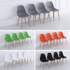 4PCS Plastic Padded Dining Chairs with Metal Legs Eiffel Inspired Kitchen Chair