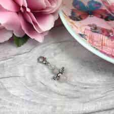 Silver Guardian Angel Rose Quartz Charm, Spiritual Clip-On Charm, Angel Wings