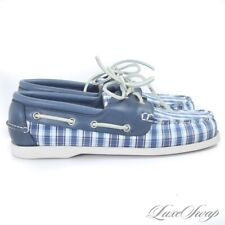 NIB #1 MENSWEAR Brooks Brothers Blue Madras Deck Moccasin Boat Shoes 8.5 NR #19
