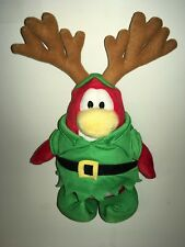 "Disney Club Penguin Reindeer Elf Christmas Penguin    8"" Plush Stuffed Animal"