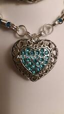 40mm XXL Valentine Love HEART Rhinestones Pendant Necklace Fashion Jewellery