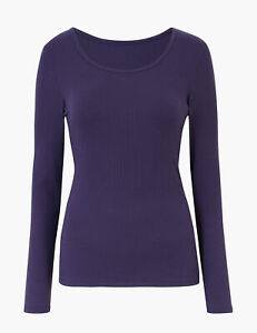 MARKS & SPENCER M&S WOMENS JAPANESE HEATGEN THERMAL RIB SCOOP NECK PURPLE TOP