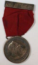 1893 Columbus Half Dollar in Medal and Ribbon for Chicago Day Commemoration GH