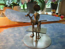 """NUTS & BOLTS METAL SPARK PLUG SCULPTURE Man with Dog on Table 6"""" Tall"""