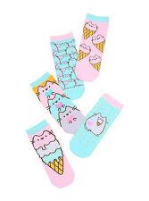 Licensed Pusheen Facebook Cat Ice Cream Cone 5 Pair Ladies No Show Ankle Socks