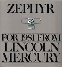 Mercury Zephyr 1981 USA Market Sales Brochure Sedan GS Z-7 Wagon Villager