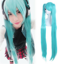 VOCALOID HATSUNE MIKU Blue Cosplay Wigs Long Straight 2 Ponytails Clip-On Wig