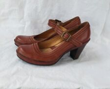 Clarks Artisan Sz Womens 6 M Heels Mary Jane Brown/ Red Leather Shoes Pump