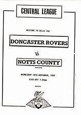 Doncaster Rovers Reserves v Notts County Reserves 1987/8