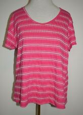 New Fresh Produce Knit Top Pink Striped Scoop Neck Tee Cap Sleeve Shirt XL