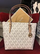NWT MICHAEL KORS MK SIGNATURE PVC JET SET EW TOP ZIP TOTE BAG IN NAVY/WHITE