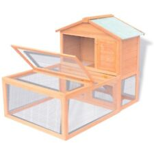 1.4m Pet Bunny Rabbit Guinea Pig Wooden 2 Level Safety Hutch House Shelter Cage