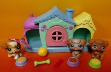 Dog House w/ 3 Playful Maltese Poodle Puppy Dogs Littlest Pet Shop doghouse LPS