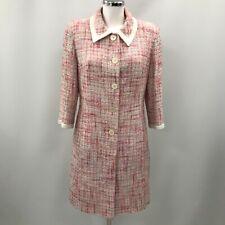 L.K. Bennett Jacket Womens Size UK 12 Pink White Textured Button Casual 360809