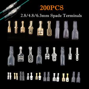 200PCS Electrical Wire Crimp Connectors Set Male Female Spade Terminal Kit