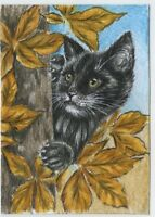 a01522 original ACEO cat & tree kitten *Albert Stone Gallery* by Koval
