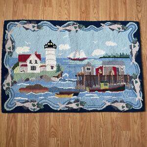 Claire Murray Hand Hooked Rug wool Coastal Fisherman 2x3 R813 Hand Made