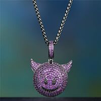 "14K Black Gold Over Amethyst Devil Emoji Pendant Necklace With 18"" Chain"