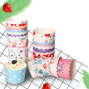 50/100 Round Paper Cups Muffin Cupcake Wrapper Wedding Party Cake Tary Box Case